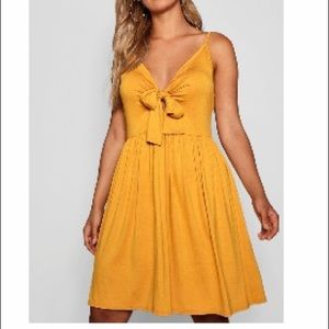 Boohoo Strappy Knot Front Swing Dress